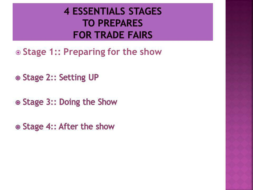 Stage 1:: Preparing for the show  What are your goal.