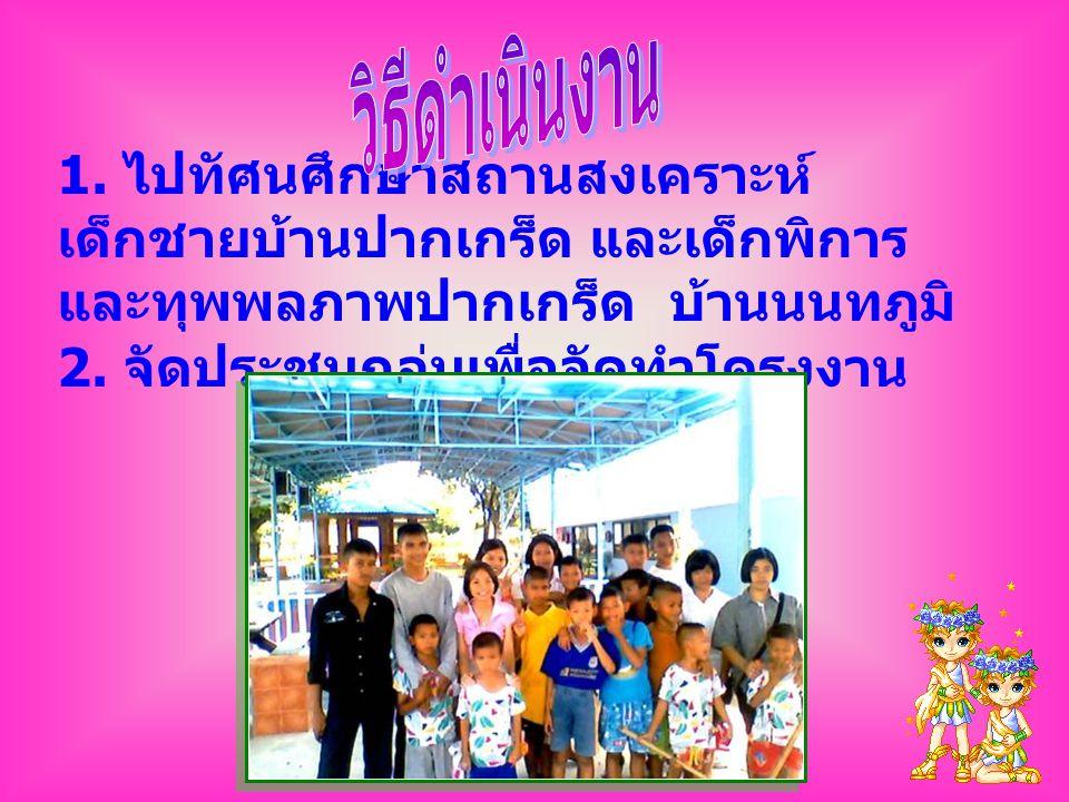 1. ไปทัศนศึกษาสถานสงเคราะห์ เด็กชายบ้านปากเกร็ด และเด็กพิการ และทุพพลภาพปากเกร็ด บ้านนนทภูมิ 2. จัดประชุมกลุ่มเพื่อจัดทำโครงงาน