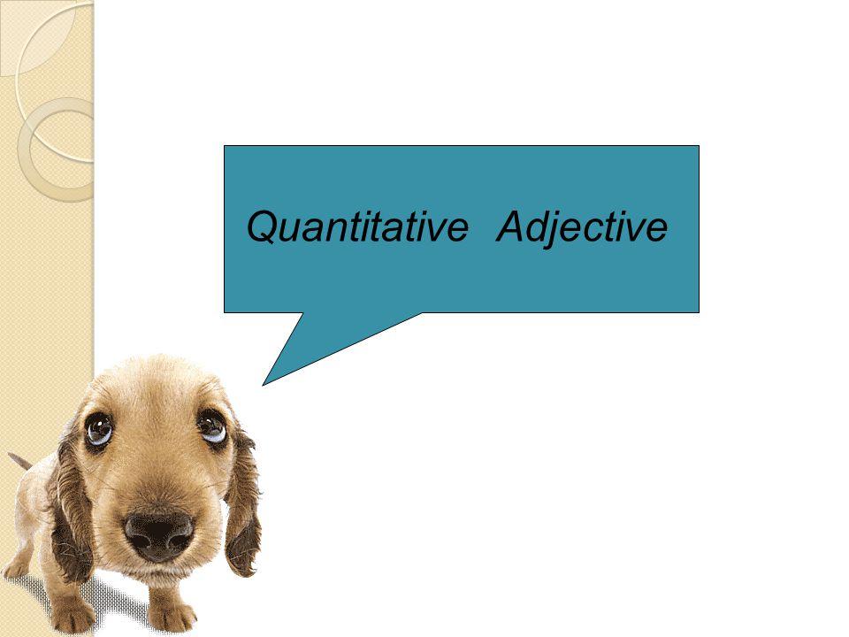 QQuantitative adjective หมายถึง คำที่ไปขยายนาม เพื่อบอกให้ทราบปริมาณของสิ่งเหล่านั้นว่า มีมาก หรือน้อย ( แต่ไม่บอกจำนวนแน่นอน ) เช่นคำว่า much,many,little,some HHow many the snack that she ate yesterday.