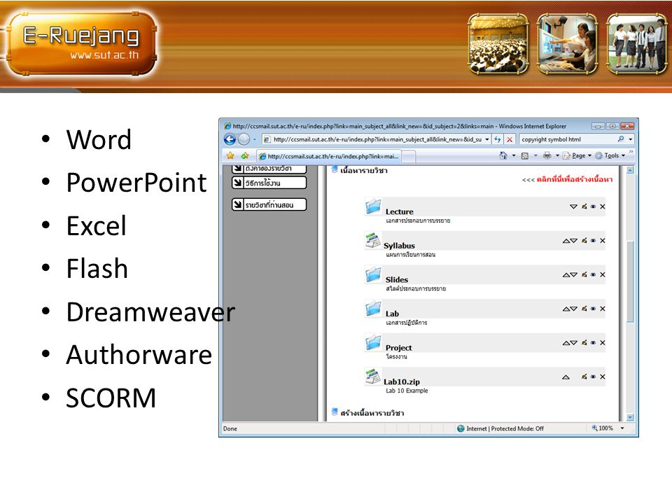 • Word • PowerPoint • Excel • Flash • Dreamweaver • Authorware • SCORM