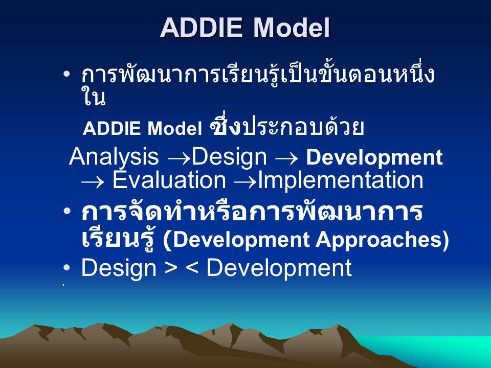 ADDIE Model • การพัฒนาการเรียนรู้เป็นขั้นตอนหนึ่ง ใน ADDIE Model ซึ่งประกอบด้วย Analysis  Design  Development  Evaluation  Implementation • การจัด