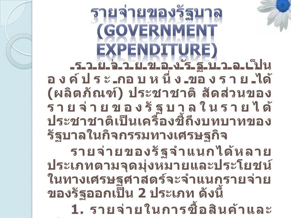 รายจ่ายของรัฐบาลเป็น องค์ประกอบหนึ่งของรายได้ ( ผลิตภัณฑ์ ) ประชาชาติ สัดส่วนของ รายจ่ายของรัฐบาลในรายได้ ประชาชาติเป็นเครื่องชี้ถึงบทบาทของ รัฐบาลในก