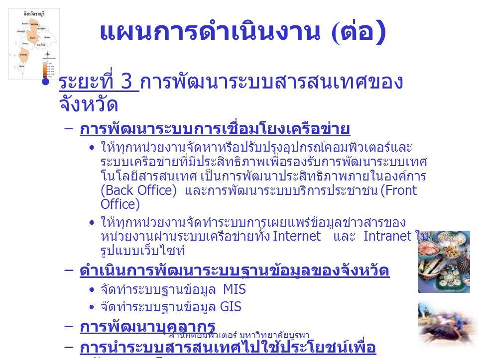 สำนักคอมพิวเตอร์ มหาวิทยาลัยบูรพา แผนการดำเนินงาน ( ต่อ ) •ระยะที่ 3 การพัฒนาระบบสารสนเทศของจังหวัด – การนำระบบสารสนเทศไปใช้ประโยชน์เพื่อ สนับสนุนนโยบาย e-government •e-office •e-procurement •e-commerce •e-services