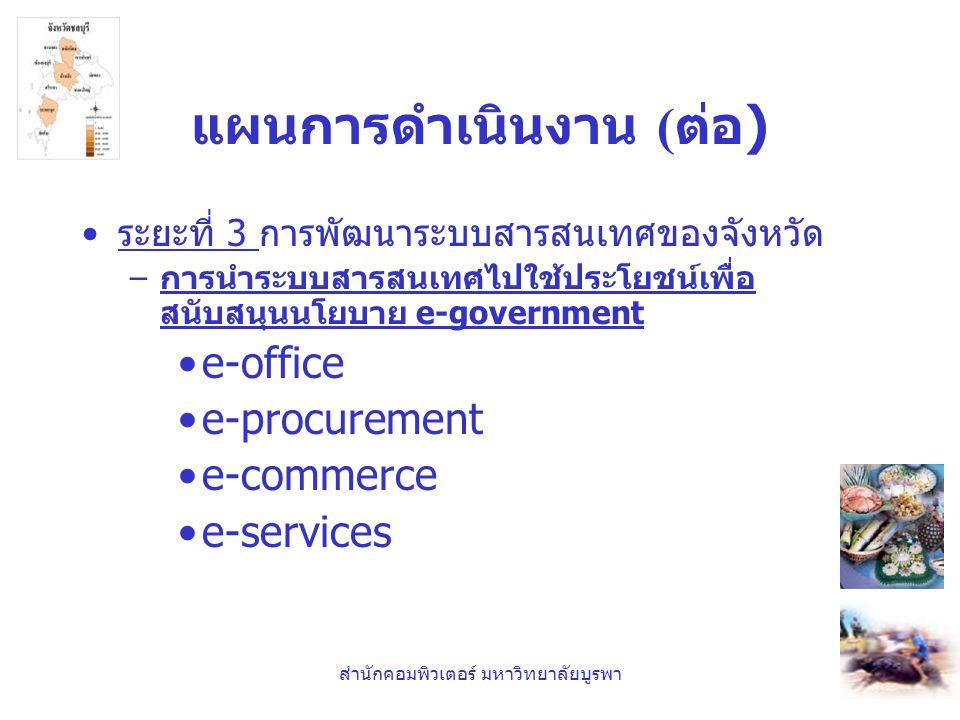 สำนักคอมพิวเตอร์ มหาวิทยาลัยบูรพา แผนการดำเนินงาน ( ต่อ ) •ระยะที่ 3 การพัฒนาระบบสารสนเทศของจังหวัด – การนำระบบสารสนเทศไปใช้ประโยชน์เพื่อ สนับสนุนนโยบ