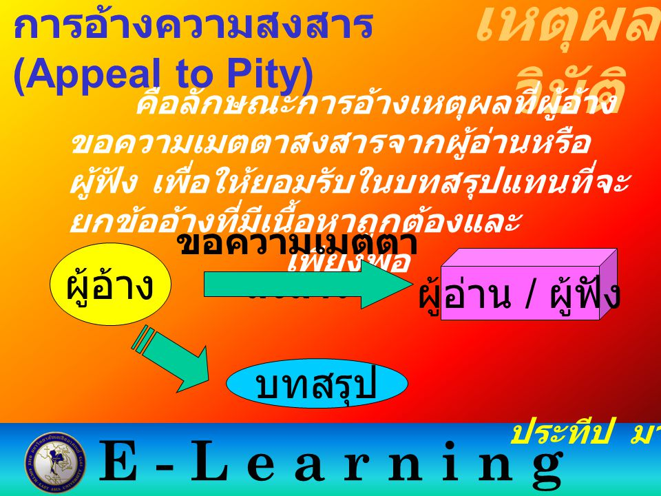 E - L e a r n i n g เหตุผล วิบัติ ประทีป มากมิตร การอ้างความสงสาร (Appeal to Pity) คือลักษณะการอ้างเหตุผลที่ผู้อ้าง ขอความเมตตาสงสารจากผู้อ่านหรือ ผู้