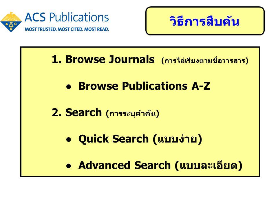 1.Browse Journals (การไล่เรียงตามชื่อวารสาร) ● Browse Publications A-Z 2.Search (การระบุคำค้น) ● Quick Search (แบบง่าย) ● Advanced Search (แบบละเอียด)