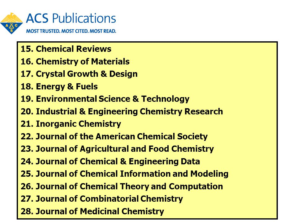 15. Chemical Reviews 16. Chemistry of Materials 17. Crystal Growth & Design 18. Energy & Fuels 19. Environmental Science & Technology 20. Industrial &