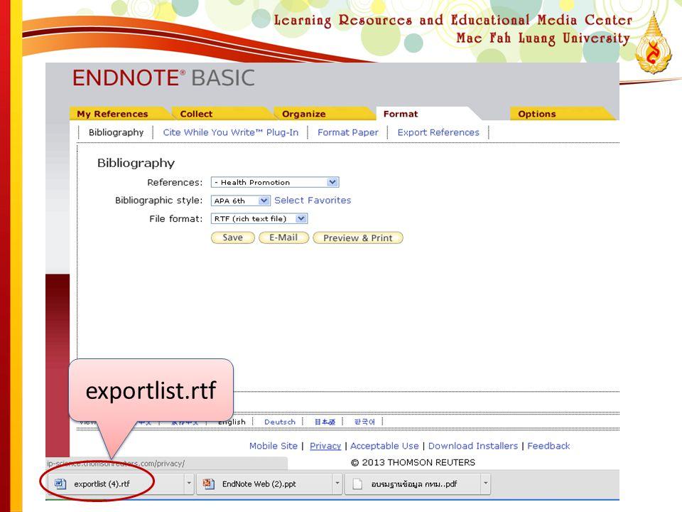 exportlist.rtf