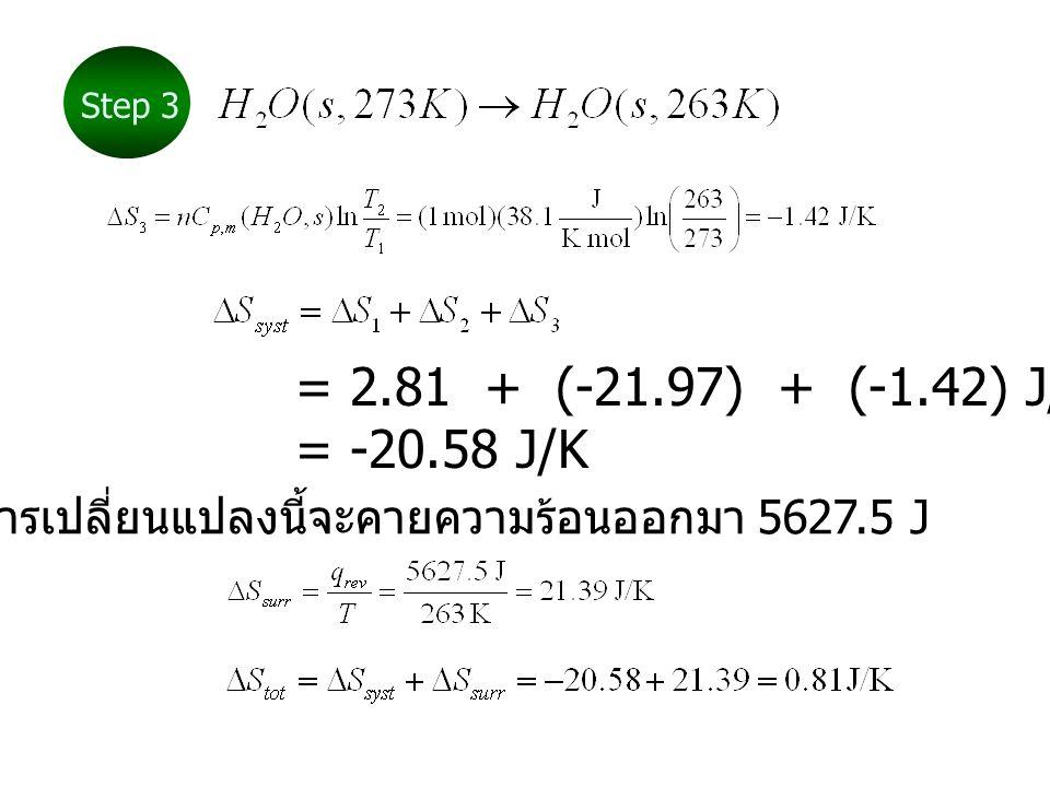 = 2.81 + (-21.97) + (-1.42) J/K = -20.58 J/K การเปลี่ยนแปลงนี้จะคายความร้อนออกมา 5627.5 J Step 3