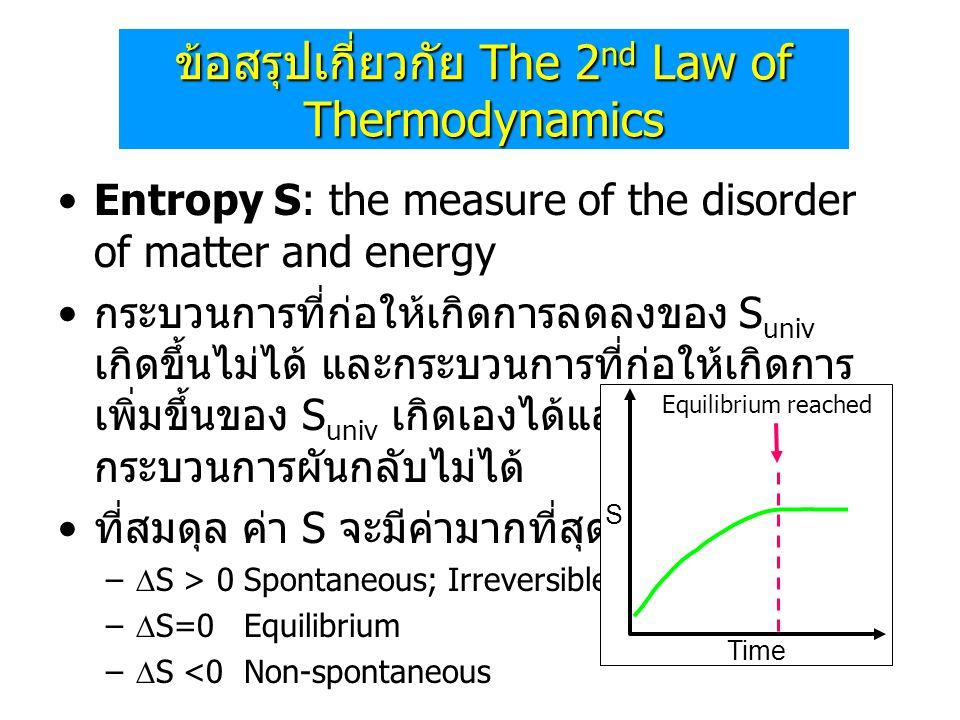•Entropy S: the measure of the disorder of matter and energy • กระบวนการที่ก่อให้เกิดการลดลงของ S univ เกิดขึ้นไม่ได้ และกระบวนการที่ก่อให้เกิดการ เพิ