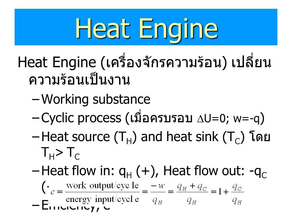 Heat Engine Heat Engine ( เครื่องจักรความร้อน ) เปลี่ยน ความร้อนเป็นงาน –Working substance –Cyclic process ( เมื่อครบรอบ  U=0; w=-q ) –Heat source (T