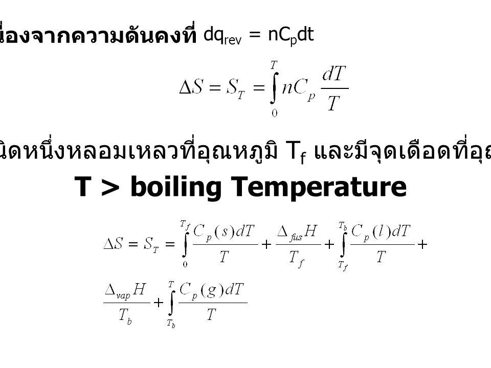 เนื่องจากความดันคงที่ dq rev = nC p dt ให้สารชนิดหนึ่งหลอมเหลวที่อุณหภูมิ T f และมีจุดเดือดที่อุณหภูมิ T b T > boiling Temperature