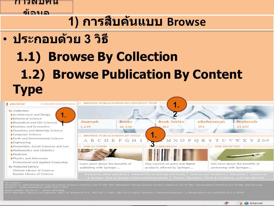 การสืบค้น ข้อมูล • ประกอบด้วย 3 วิธี 1.1) Browse By Collection 1.2) Browse Publication By Content Type 1.3) Browse Publication Title • ประกอบด้วย 3 วิ