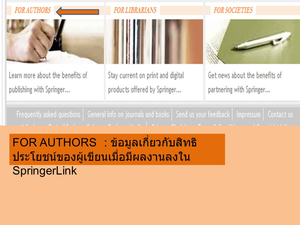 FOR AUTHORS : ข้อมูลเกี่ยวกับสิทธิ ประโยชน์ของผู้เขียนเมื่อมีผลงานลงใน SpringerLink