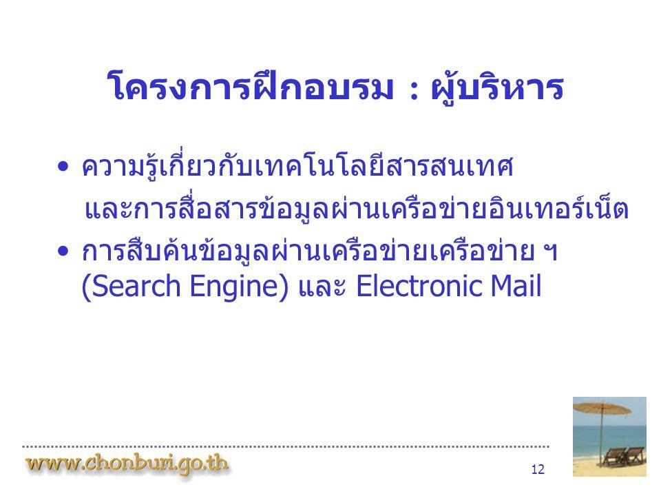 12 โครงการฝึกอบรม : ผู้บริหาร •ความรู้เกี่ยวกับเทคโนโลยีสารสนเทศ และการสื่อสารข้อมูลผ่านเครือข่ายอินเทอร์เน็ต •การสืบค้นข้อมูลผ่านเครือข่ายเครือข่าย ฯ (Search Engine) และ Electronic Mail