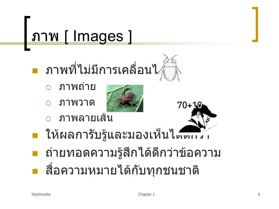 MultimediaChapter 15 ภาพ [ Images ]  ภาพที่ไม่มีการเคลื่อนไหว  ภาพถ่าย  ภาพวาด  ภาพลายเส้น  ให้ผลการับรู้และมองเห็นได้ดีกว่า  ถ่ายทอดความรู้สึกได้ดีกว่าข้อความ  สื่อความหมายได้กับทุกชนชาติ