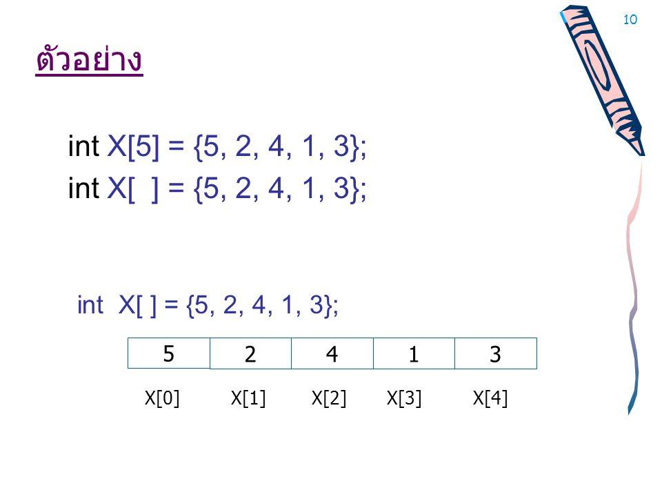 10 ตัวอย่าง int X[5] = {5, 2, 4, 1, 3}; int X[ ] = {5, 2, 4, 1, 3}; 5 2413 X[0] X[1] X[2] X[3] X[4]