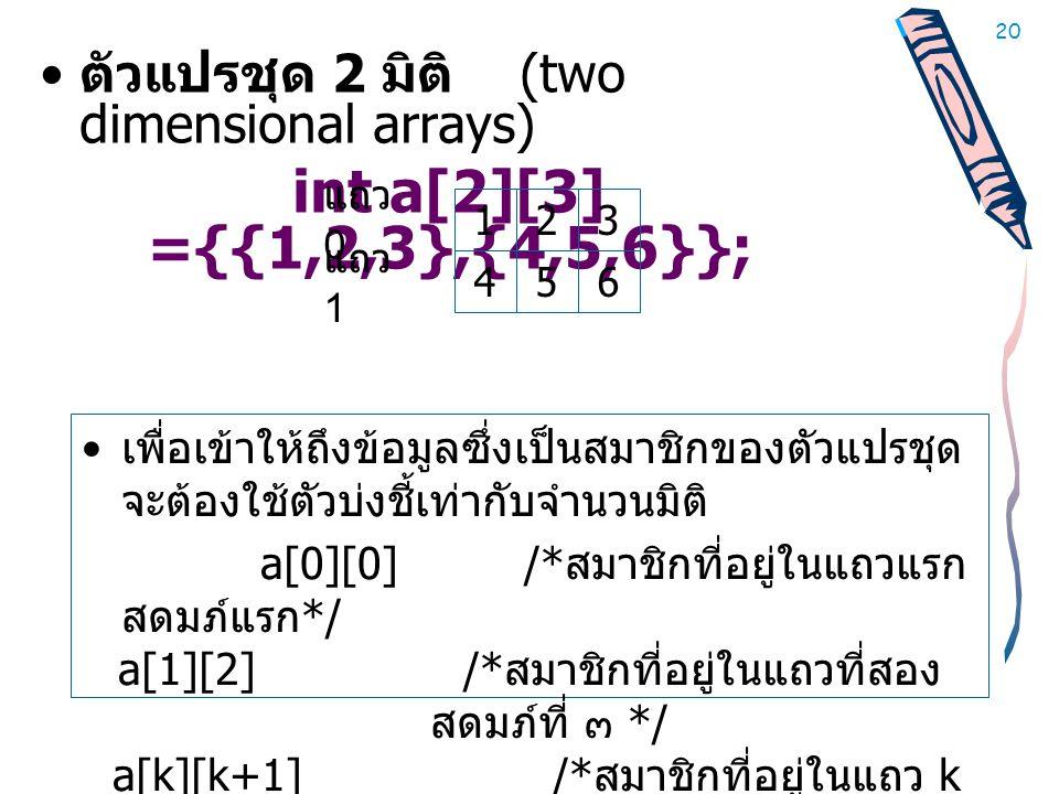 20 • ตัวแปรชุด 2 มิติ (two dimensional arrays) int a[2][3] ={{1,2,3},{4,5,6}}; • เพื่อเข้าให้ถึงข้อมูลซึ่งเป็นสมาชิกของตัวแปรชุด จะต้องใช้ตัวบ่งชี้เท่ากับจำนวนมิติ a[0][0] /* สมาชิกที่อยู่ในแถวแรก สดมภ์แรก */ a[1][2] /* สมาชิกที่อยู่ในแถวที่สอง สดมภ์ที่ ๓ */ a[k][k+1] /* สมาชิกที่อยู่ในแถว k สดมภ์ k+1*/ 123 456 แถว 0 แถว 1