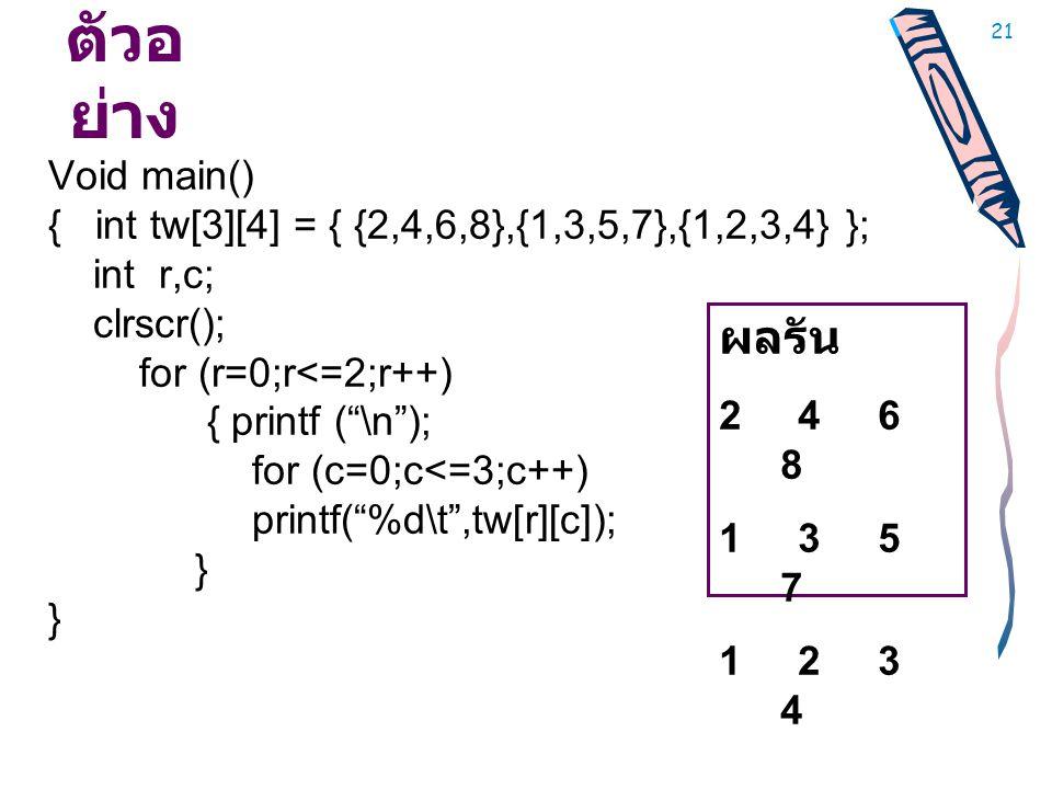 21 ตัวอ ย่าง Void main() { int tw[3][4] = { {2,4,6,8},{1,3,5,7},{1,2,3,4} }; int r,c; clrscr(); for (r=0;r<=2;r++) { printf ( \n ); for (c=0;c<=3;c++) printf( %d\t ,tw[r][c]); } ผลรัน 2 4 6 8 1 3 5 7 1 2 3 4