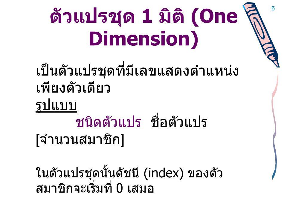 5 ตัวแปรชุด 1 มิติ (One Dimension) เป็นตัวแปรชุดที่มีเลขแสดงตำแหน่ง เพียงตัวเดียว รูปแบบ ชนิดตัวแปร ชื่อตัวแปร [ จำนวนสมาชิก ] ในตัวแปรชุดนั้นดัชนี (index) ของตัว สมาชิกจะเริ่มที่ 0 เสมอ