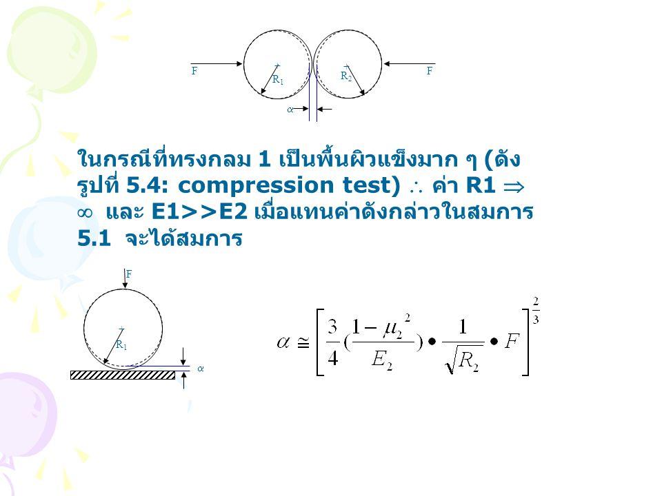 F F + + R1R1 R2R2  ในกรณีที่ทรงกลม 1 เป็นพื้นผิวแข็งมาก ๆ ( ดัง รูปที่ 5.4: compression test)  ค่า R1   และ E1>>E2 เมื่อแทนค่าดังกล่าวในสมการ 5.1 จะได้สมการ F + R1R1 
