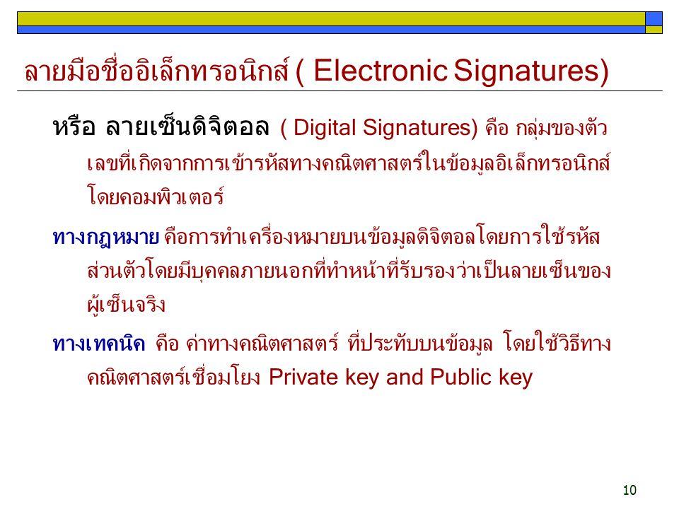 10 ลายมือชื่ออิเล็กทรอนิกส์ ( Electronic Signatures) หรือ ลายเซ็นดิจิตอล ( Digital Signatures) คือ กลุ่มของตัว เลขที่เกิดจากการเข้ารหัสทางคณิตศาสตร์ใน