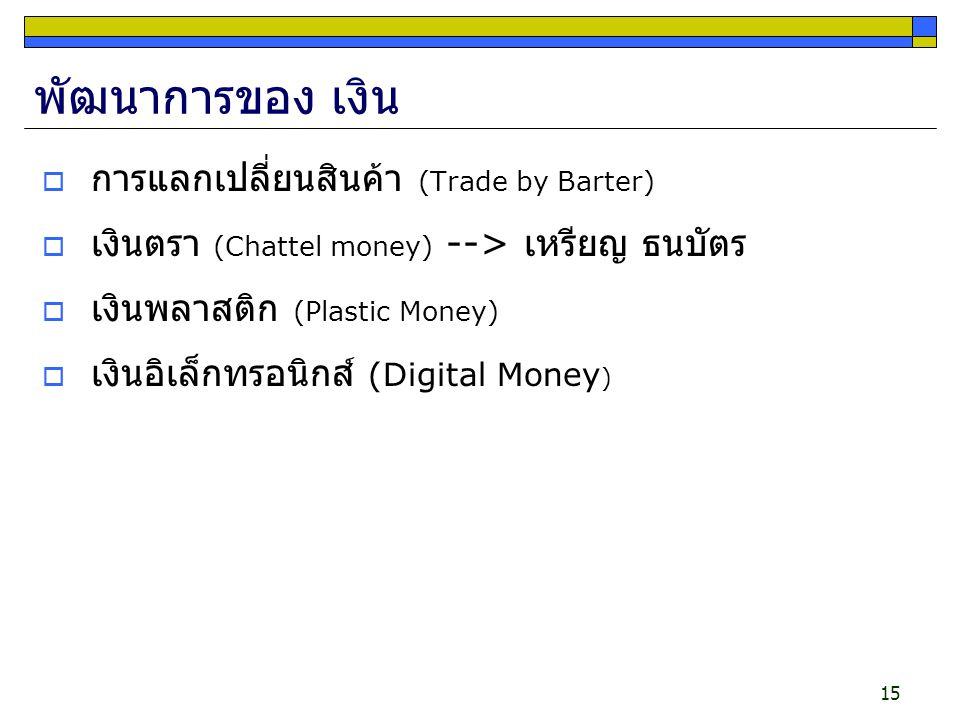 15 พัฒนาการของ เงิน  การแลกเปลี่ยนสินค้า (Trade by Barter)  เงินตรา (Chattel money) --> เหรียญ ธนบัตร  เงินพลาสติก (Plastic Money)  เงินอิเล็กทรอน