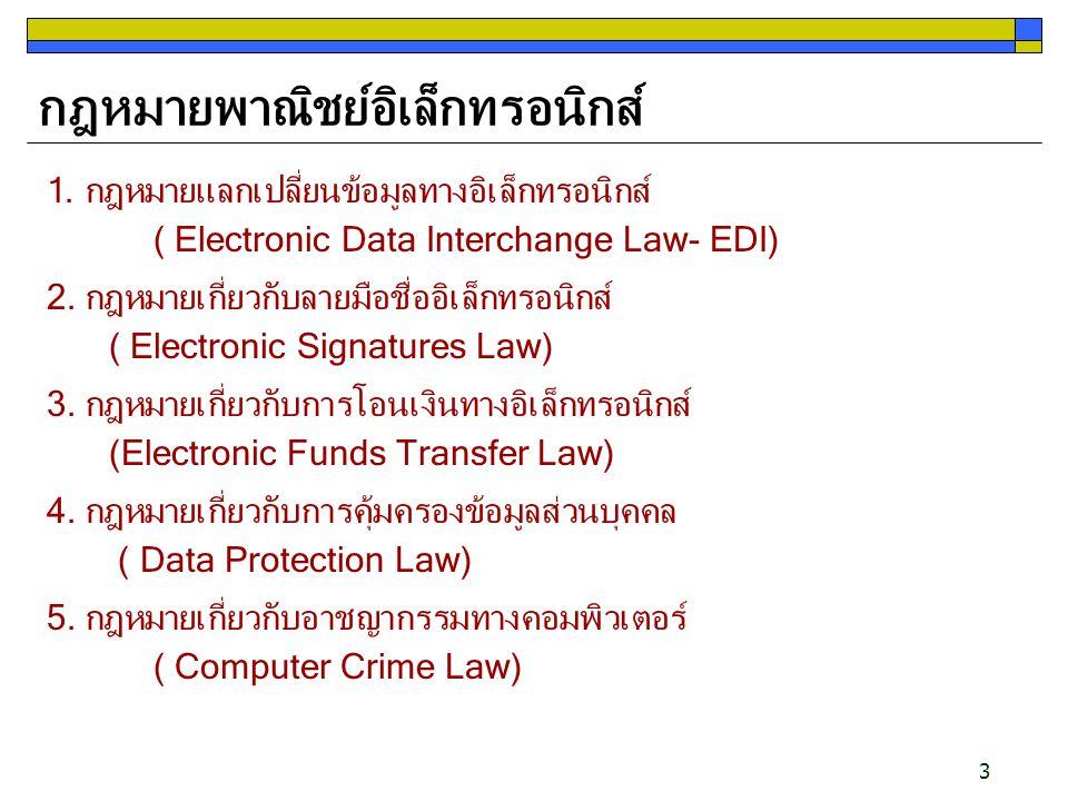 3 กฎหมายพาณิชย์อิเล็กทรอนิกส์ 1. กฎหมายแลกเปลี่ยนข้อมูลทางอิเล็กทรอนิกส์ ( Electronic Data Interchange Law- EDI) 2. กฎหมายเกี่ยวกับลายมือชื่ออิเล็กทรอ