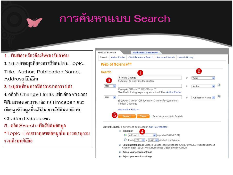 การค้นหาแบบ Search 1. พิมพ์คำหรือวลีลงในช่องรับคำค้น 2. ระบุเขตข้อมูลที่ต้องการสืบค้น เช่น Topic, Title, Author, Publication Name, Address เป็นต้น 3.