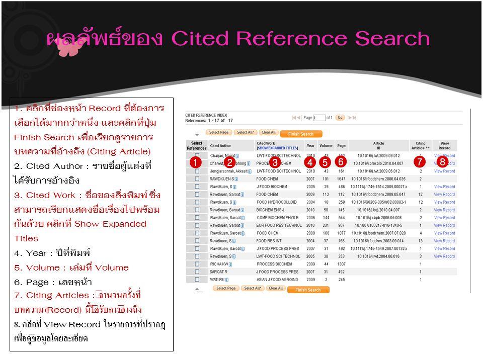 ผลลัพธ์ของ Cited Reference Search 1. คลิกที่ช่องหน้า Record ที่ต้องการ เลือกได้มากกว่าหนึ่ง และคลิกที่ปุ่ม Finish Search เพื่อเรียกดูรายการ บทความที่อ