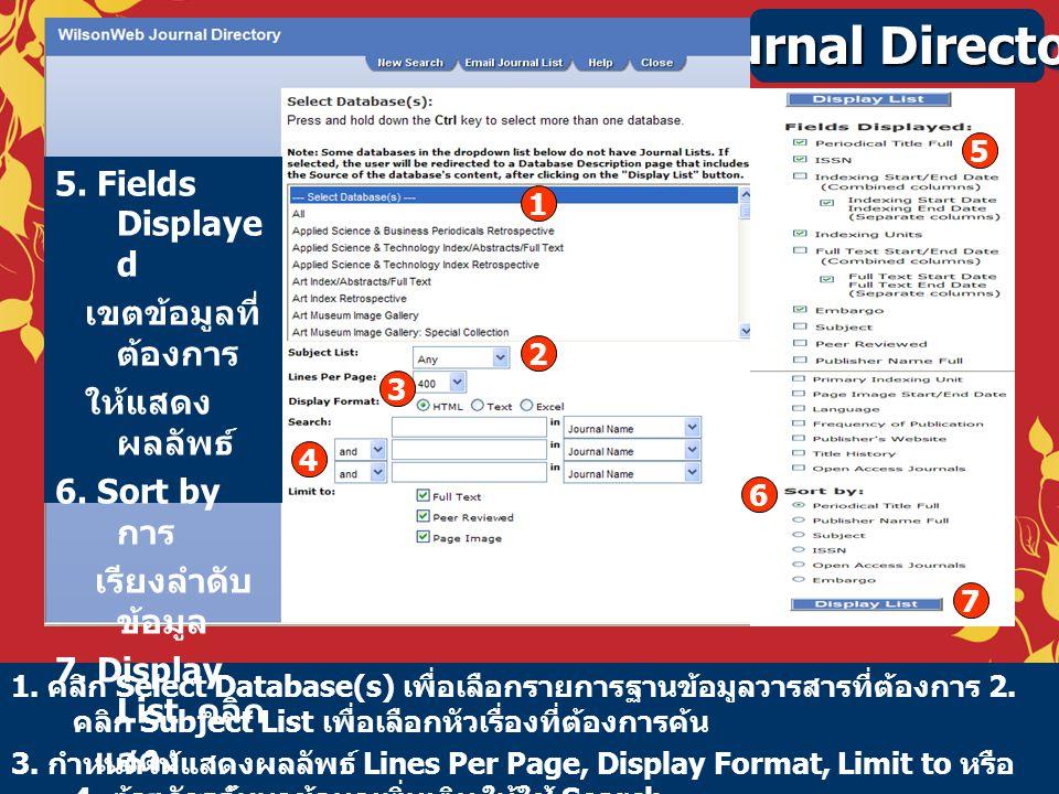 Journal Directory 1. คลิก Select Database(s) เพื่อเลือกรายการฐานข้อมูลวารสารที่ต้องการ 2. คลิก Subject List เพื่อเลือกหัวเรื่องที่ต้องการค้น 3. กำหนดใ