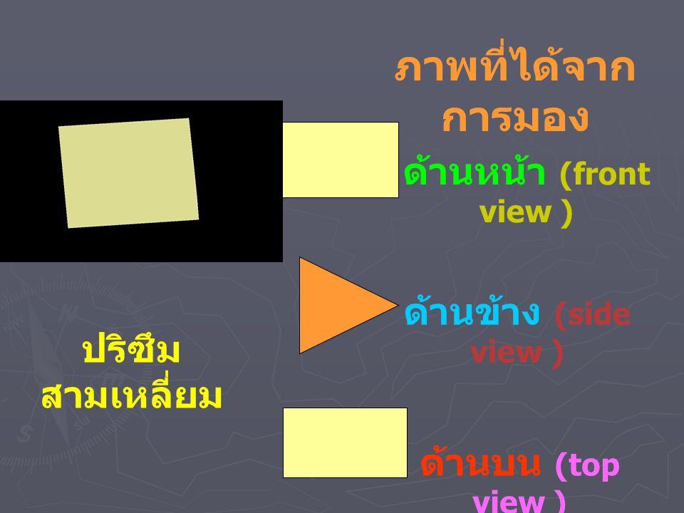 ด้านหน้า (front view ) ด้านข้าง (side view ) ด้านบน (top view ) ปริซึม สามเหลี่ยม ภาพที่ได้จาก การมอง