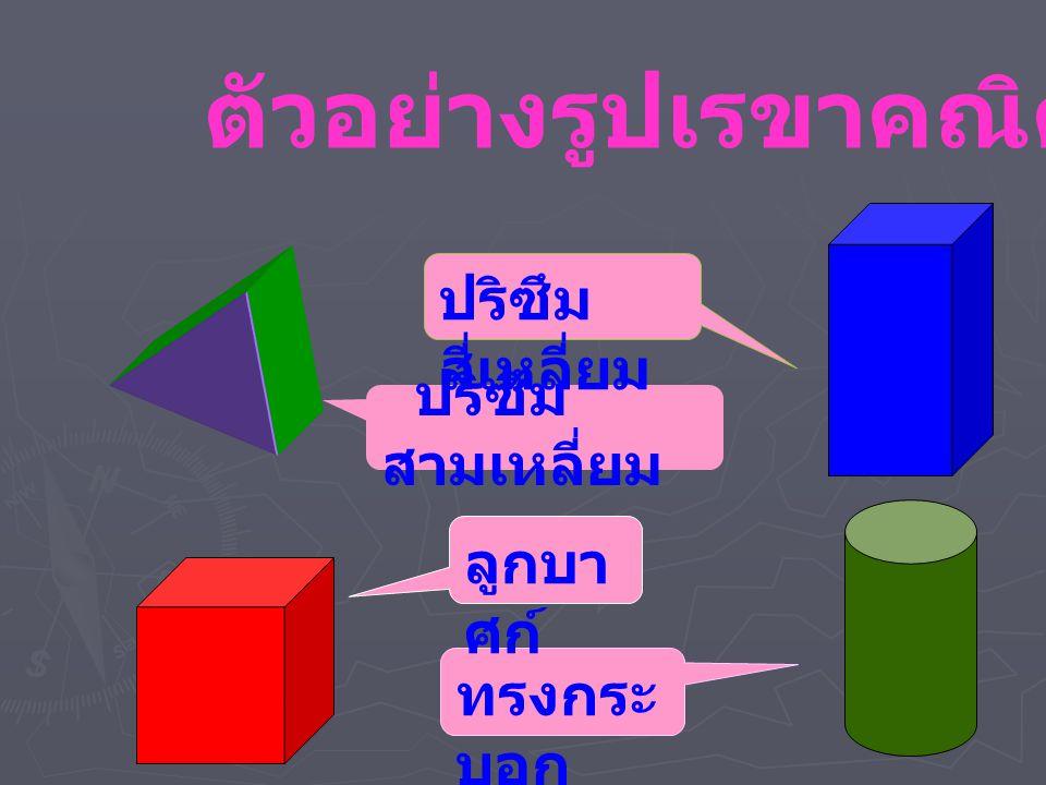 ตัวอย่างรูปเรขาคณิต 3 มิติ ปริซึม สามเหลี่ยม ปริซึม สี่เหลี่ยม ทรงกระ บอก ลูกบา ศก์