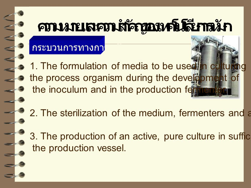 1. The formulation of media to be used in culturing the process organism during the development of the inoculum and in the production fermenter. 2. Th