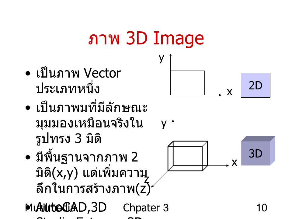 MutilmediaChpater 310 ภาพ 3D Image • เป็นภาพ Vector ประเภทหนึ่ง • เป็นภาพมที่มีลักษณะ มุมมองเหมือนจริงใน รูปทรง 3 มิติ • มีพื้นฐานจากภาพ 2 มิติ (x,y)