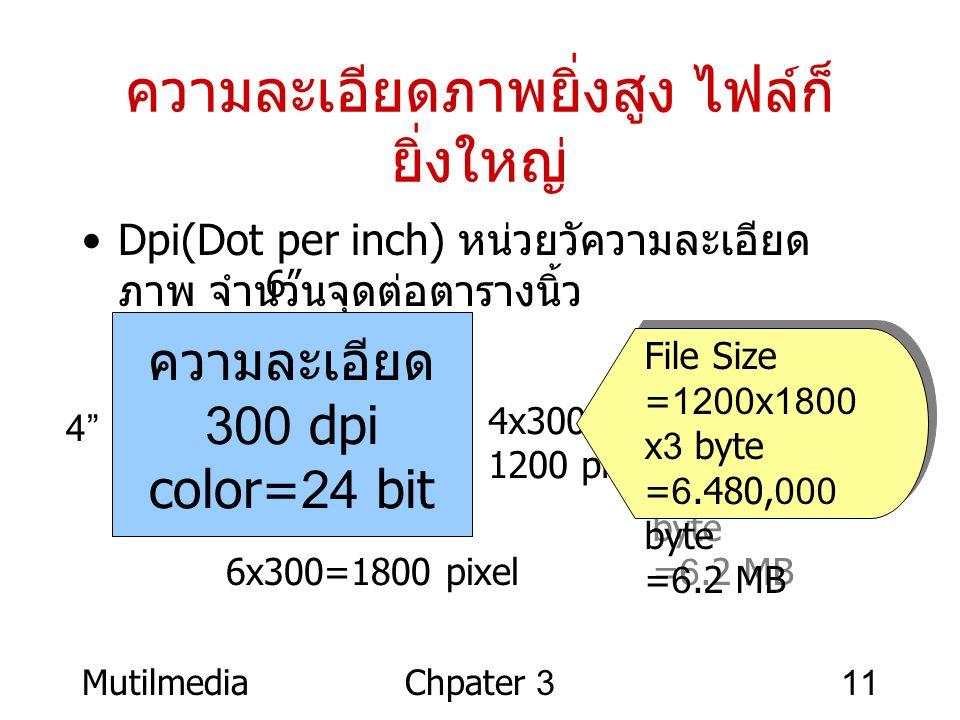 MutilmediaChpater 311 ความละเอียดภาพยิ่งสูง ไฟล์ก็ ยิ่งใหญ่ •Dpi(Dot per inch) หน่วยวัความละเอียด ภาพ จำนวนจุดต่อตารางนิ้ว ความละเอียด 300 dpi color=2