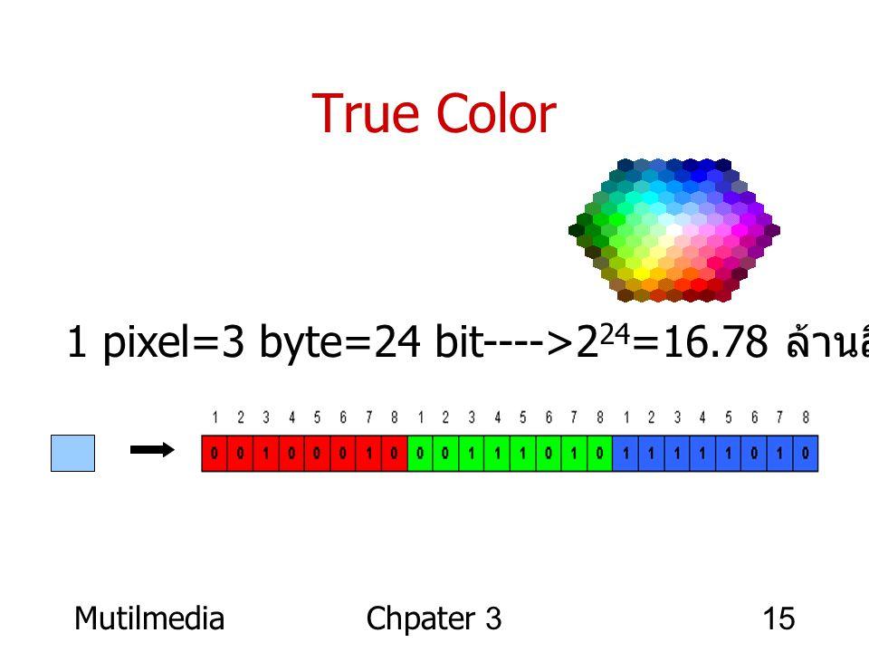 MutilmediaChpater 315 True Color 1 pixel=3 byte=24 bit---->2 24 =16.78 ล้านสี