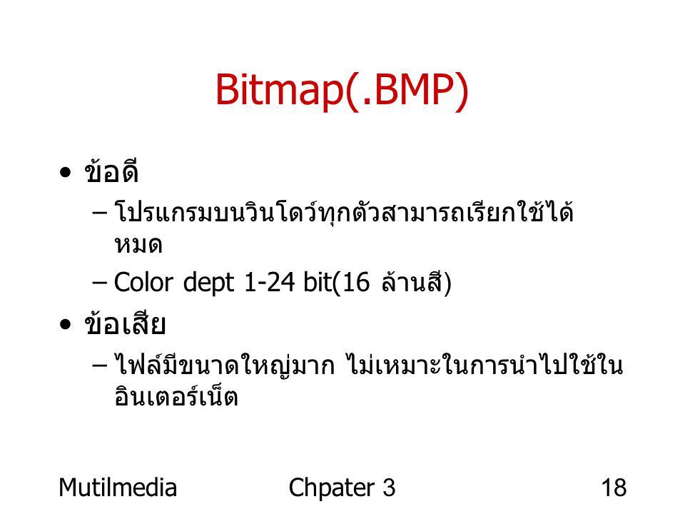 MutilmediaChpater 318 Bitmap(.BMP) • ข้อดี – โปรแกรมบนวินโดว์ทุกตัวสามารถเรียกใช้ได้ หมด –Color dept 1-24 bit(16 ล้านสี ) • ข้อเสีย – ไฟล์มีขนาดใหญ่มา