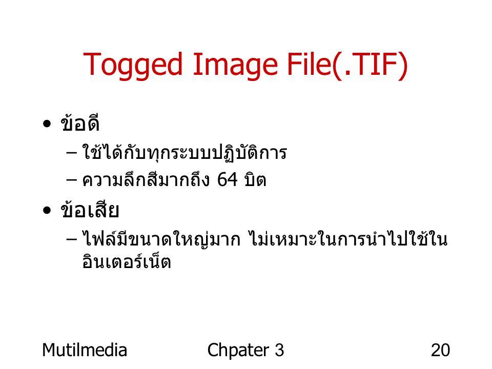 MutilmediaChpater 320 Togged Image File(.TIF) • ข้อดี – ใช้ได้กับทุกระบบปฏิบัติการ – ความลึกสีมากถึง 64 บิต • ข้อเสีย – ไฟล์มีขนาดใหญ่มาก ไม่เหมาะในกา