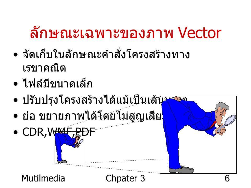 MutilmediaChpater 36 ลักษณะเฉพาะของภาพ Vector • จัดเก็บในลักษณะคำสั่งโครงสร้างทาง เรขาคณิต • ไฟล์มีขนาดเล็ก • ปรับปรุงโครงสร้างได้แม้เป็นเส้นบางๆ • ย่