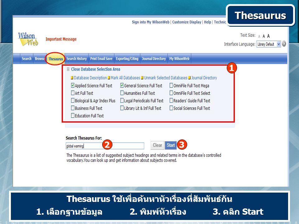 ThesaurusThesaurus Thesaurus ใช้เพื่อค้นหาหัวเรื่องที่สัมพันธ์กัน 1. เลือกฐานข้อมูล 2. พิมพ์หัวเรื่อง 3. คลิก Start 23 1