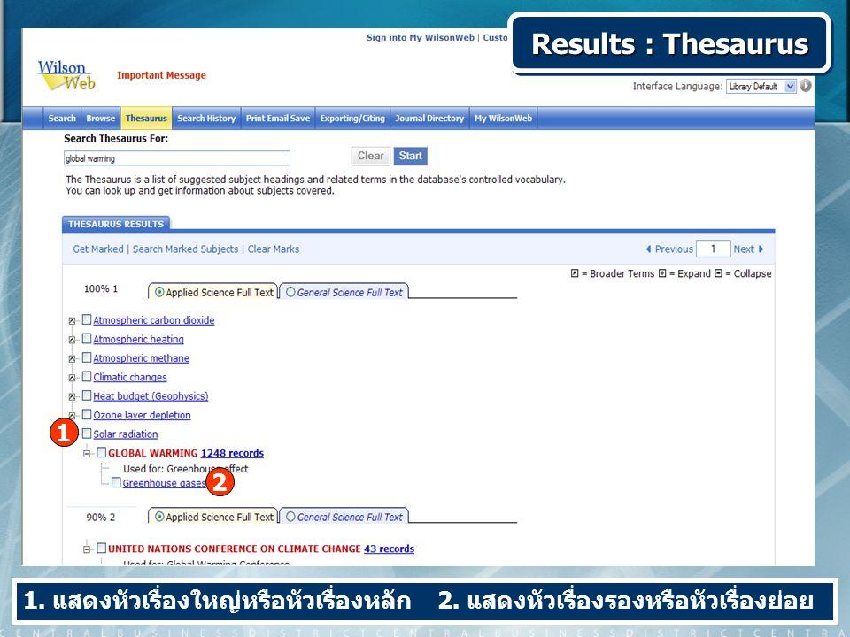Results : Thesaurus 1. แสดงหัวเรื่องใหญ่หรือหัวเรื่องหลัก 2. แสดงหัวเรื่องรองหรือหัวเรื่องย่อย 1 2