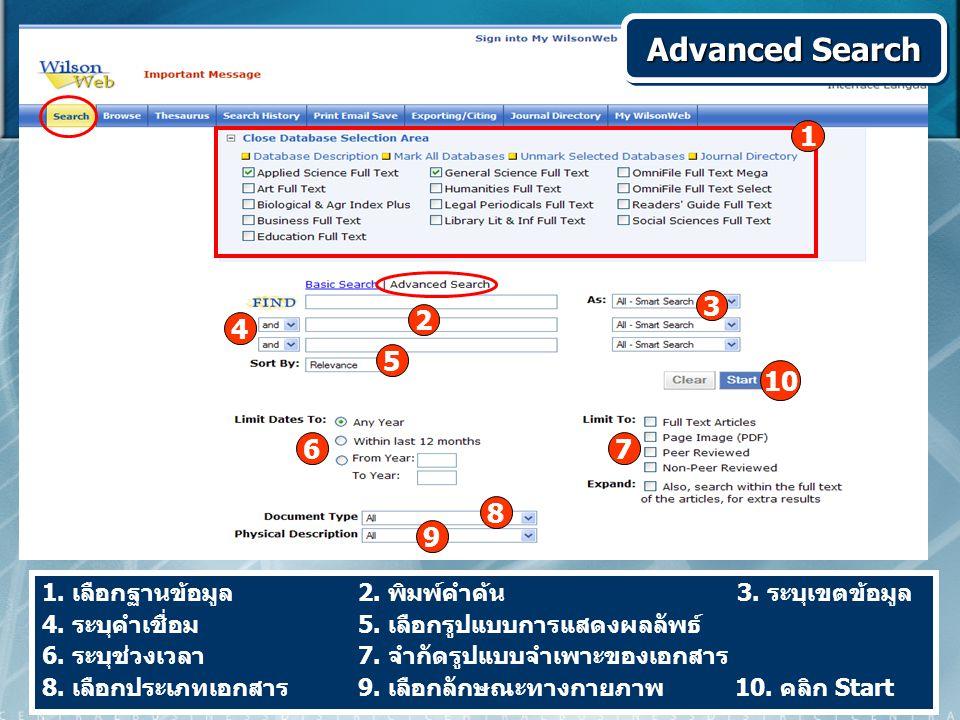 1. เลือกฐานข้อมูล 2. พิมพ์คำค้น 3. ระบุเขตข้อมูล 4. ระบุคำเชื่อม 5. เลือกรูปแบบการแสดงผลลัพธ์ 6. ระบุช่วงเวลา 7. จำกัดรูปแบบจำเพาะของเอกสาร 8. เลือกปร