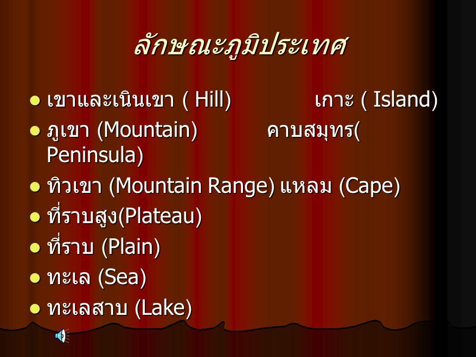 ลักษณะภูมิประเทศ  เขาและเนินเขา ( Hill) เกาะ ( Island)  ภูเขา (Mountain) คาบสมุทร ( Peninsula)  ทิวเขา (Mountain Range) แหลม (Cape)  ที่ราบสูง (Pl