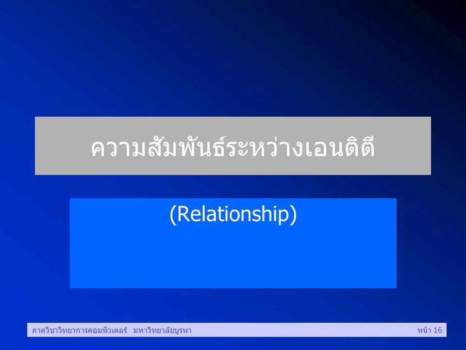 ภาควิชาวิทยาการคอมพิวเตอร์ มหาวิทยาลัยบูรพาหน้า 16 ความสัมพันธ์ระหว่างเอนติตี (Relationship)