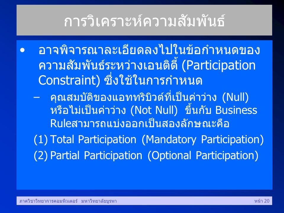 ภาควิชาวิทยาการคอมพิวเตอร์ มหาวิทยาลัยบูรพาหน้า 20 การวิเคราะห์ความสัมพันธ์ •อาจพิจารณาละเอียดลงไปในข้อกำหนดของ ความสัมพันธ์ระหว่างเอนติตี้ (Participation Constraint) ซึ่งใช้ในการกำหนด –คุณสมบัติของแอททริบิวต์ที่เป็นค่าว่าง (Null) หรือไม่เป็นค่าว่าง (Not Null) ขึ้นกับ Business Ruleสามารถแบ่งออกเป็นสองลักษณะคือ (1)Total Participation (Mandatory Participation) (2)Partial Participation (Optional Participation)