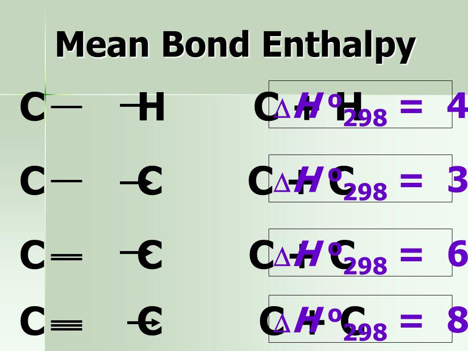 Mean Bond Enthalpy  พิจารณาว่าการเกิดปฏิกิริยาเกิดจากการสร้าง (-) และทำลายพันธะ (+)  พลังงานสลายพันธะเป็นค่าเฉลี่ยจากพลังงาน พันธะของโมเลกุลต่างๆ +