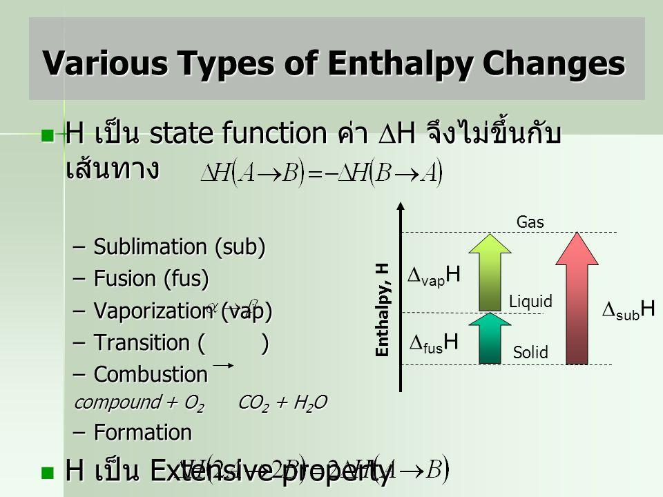 คือการเปลี่ยนแปลง enthalpy ที่ standard state ( สภาวะที่ความดันเท่ากับ 1 บรรยากาศ ที่อุณหภูมิใด ๆ ) Standard Enthalpy Changes The conventional tempera