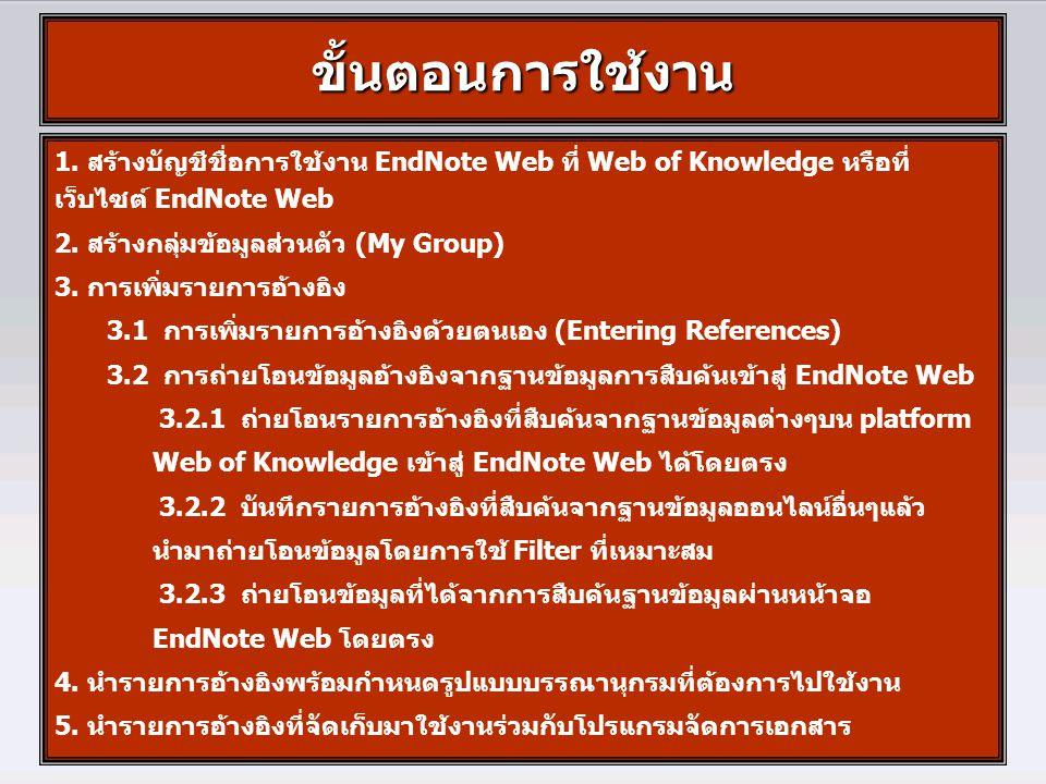 ขั้นตอนการใช้งาน 1. สร้างบัญชีชื่อการใช้งาน EndNote Web ที่ Web of Knowledge หรือที่ เว็บไซต์ EndNote Web 2. สร้างกลุ่มข้อมูลส่วนตัว (My Group) 3. การ