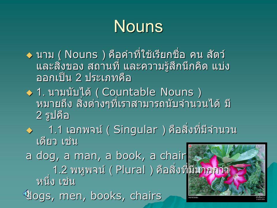 Nouns  นาม ( Nouns ) คือคำที่ใช้เรียกชื่อ คน สัตว์ และสิ่งของ สถานที่ และความรู้สึกนึกคิด แบ่ง ออกเป็น 2 ประเภทคือ  1. นามนับได้ ( Countable Nouns )